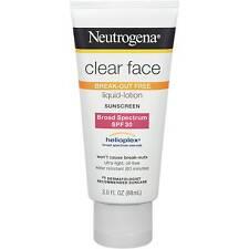Neutrogena Clear Face 30 - Sunscreen Lotion SPF 30 3oz UVB Broad Helioplex X2019