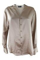 JOSEPH Rand Silk Satin Long Sleeve Blouse Gold (42)