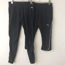 Running Bare Puma Size 10 Bulk Lot x 2 Tights 7/8 3/4 Black Reflective Fitness