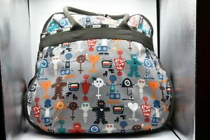 LESPORTSAC Extra Large Travel Tote Weekend Expandable Bag RARE Robot Print