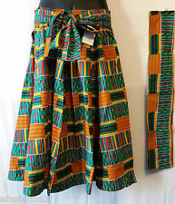 African Gathered Kente Print Ankara Wax Midi Skirt Below Knee Free Size T Green