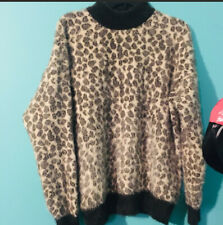 Listicle Women's Leopard Long Sleeve High Neck Knit Sweater Medium