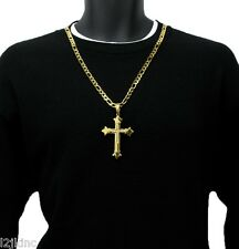 "Men 30"" Gold Stainless Steel 8mm Italian Figaro Chain Necklace Cross Pendant G10"