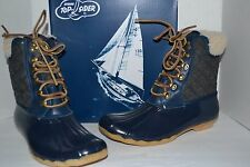Sperry FOR J CREW Wool Lined SHEARWATER NAVY/CHARCOAL DUCK BOOT SNOW RUBBER 7 M