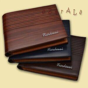 【oZtrALa】 Designer Wallet LEATHER Bifold Billfold Mens Gift Black *RFID BLOCKING