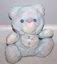"1994 Fisher Price Puffalump Blue Bear Rattle Baby Plush Bib Hearts 9"" Rare Htf"