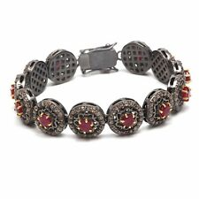 Sterling Silver Red Ruby Bracelet Handmade Victorian Rose cut Diamond 925