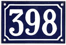Blue French house number 398 door gate plate plaque enamel steel metal sign