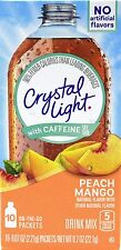 50 10-Packet Boxes Crystal Light Peach Mango With Caffeine On The Go Drink Mix
