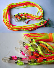 12X VINTAGE 80'S SUNGLASS EYEGLASS NEON NECK CORDS STRAP LACES HOLDER TAIWAN NEW