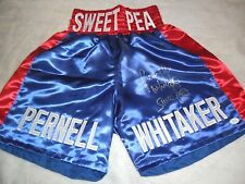 PERNELL WHITAKER SIGNED BOXING TRUNKS JSA WITNESSED COA SWEAT PEA