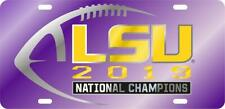 LSU 2019 National Champ Purple Laser Engraved Mirrored License Plate / Car Tag