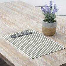 VHC Farmhouse Placemat Set of 6 Dining Kitchen Table Mats Cotton 3 Color Striped