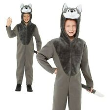 Childs Wolf Costume Animal Kids Big Bad Book Week Day Boys Fancy Dress Outfit