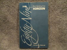 1989 Plymouth Horizon Owners Users Manual Guide Reference Book 81-026-9002 L357