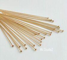 "100pcs 1.5"" 26 gauge 14k Yellow gold filled Flat cup head pin headpin F20g"