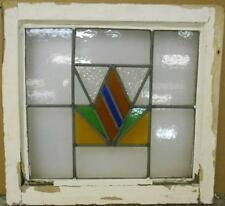 """OLD ENGLISH LEADED STAINED GLASS WINDOW Gorgeous Geometric Design 19.25"""" x 18"""""""