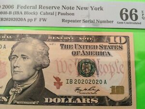 $ 10 SUPER REPEATER - 20202020 - VERY FANCY BINARY SERIAL NUMBER FRN NOTE 2006