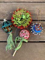 "4- Vtg Xmas Ornaments Handmade Sequined Lantern Lollipop Wreath ETC 2.25-5"""