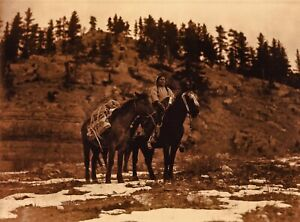 Vintage EDWARD CURTIS American Indian Crow Horse Woman GOLDTONE Photo Art 12x16