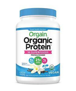 Orgain Organic Plant Based Protein + Superfoods Powder, Vanilla - 2.02 lb