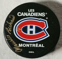 Maurice Richard Signed Autographed Montreal Canadiens Puck Beckett COA NHL