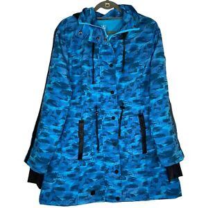 NFL Super Bowl LV Blue Camouflage Windbreaker Ski Jacket Hooded Size Large