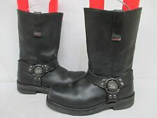 Skechers Work Black Leather Harness Motorcycle Safety Toe Work Boots Size 8.5 W