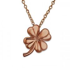 """Rose gold 4 leaf clover pendant good luck necklace on 18 """" chain & gift bag"""