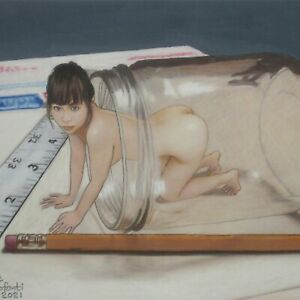 Female Nude Study #4710 Pastel Painting Shrunken Woman
