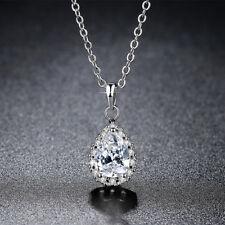 Korea Women White Gold Filled Clear Crystal CZ Teardrop Pendant Necklace