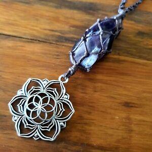'Meraki' Amethyst Lotus Flower Crystal Pendant Necklace Hemp by GypsyLee Jewels