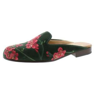 Stubbs & Wootton Womens Geranium Velvet Embroidered Slides Mules Shoes BHFO 0044