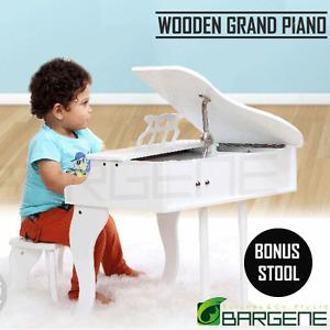 Kids Wooden Pretend Musical Toy Baby Children Grand Toy Mini 30 Keys Piano White