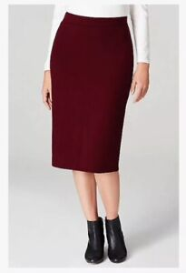 NEW J Jill Pull On Stretch Straight Pencil Skirt S Bordeaux Burgundy NWT $79