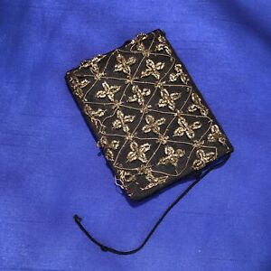 """4"""" x 3"""" Black Satin Change Purse Wallet 1940s to 1950s Metal Snap Gold Thread"""
