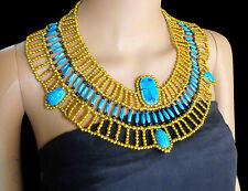 Egyptian HandMade Multi Beaded Cleopatra  Scarab Necklace Collar Christmas   234