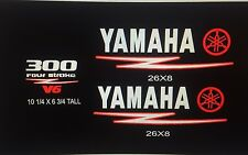 Yamaha 300 HP Four Stroke V6 RED / WHITE Cowling Decal Kit   Marine vinyl