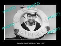 OLD POSTCARD SIZE AUSTRALIAN NAVY PHOTO OF THE HMAS SYDNEY SAILOR c1937