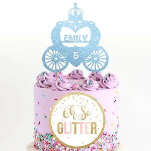 Princess Cake Topper, Customised Personalised birthday cake custom name carriage