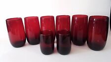 """Set of 8 Vintage Royal Ruby Red ANCHOR HOCKING 5"""" & 3 1/3"""" Tall Glass Tumblers"""