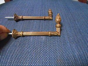 "PAIR of french Vintage Bronze Tie backs Hooks-pine apple 4"" L"