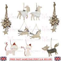 XMAS CHRISTMAS TREE DECORATION RUSTIC WOODEN STARS GLITTERY UNICORNS CATS FOX