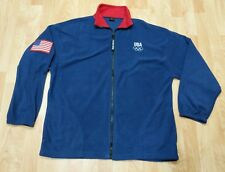 USA Olympics XL Fleece Pullover 1/4 Zip Navy Blue Flag Patch Merica workout GUC