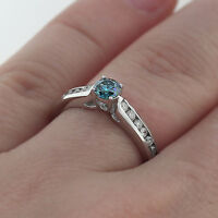 .80 CT ROUND CUT BLUE DIAMOND ENGAGEMENT WEDDING RING CHANNEL SET 14K WHITE GOLD