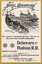 1895 f Hotel Champlain Delaware Hudson Railroad Print Ad
