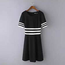 Women Lady Black white stripe short sleeves sports skate Long dress