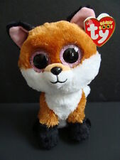 """Nwt Ty Beanie Boos 6"""" Slick Fox Plush Pink Sparkly Eyes Boo 2015 Brown Baby New"""