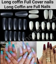 500/600PCS French Long Coffin Full Cover Artificial False Nail Tips US Ships