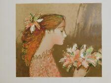 Lithografie Sachiko Imaï - Jeune Fille au Bouquet